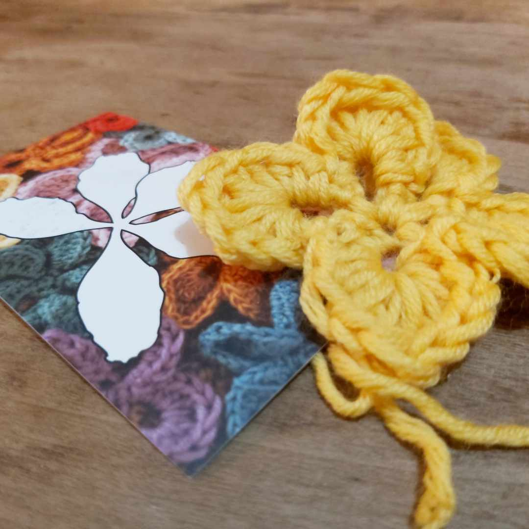 Our card with a crocheted bauhinia flower